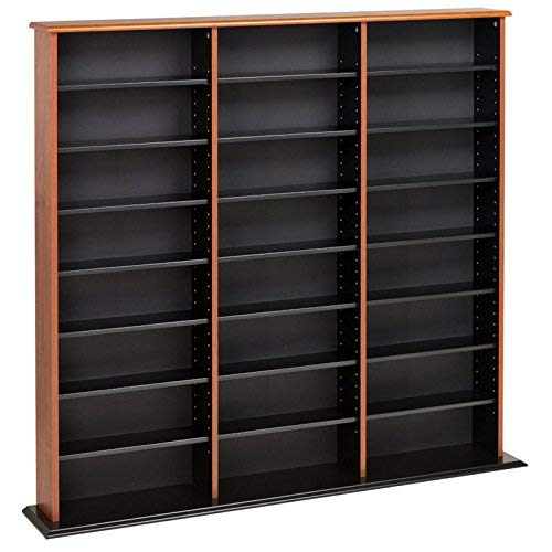 Prepac Triple Width Wall  Storage Cabinet, Cherry and Black