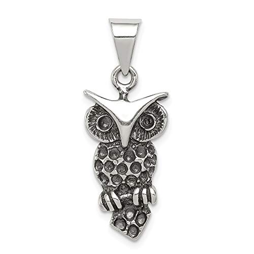 925 Sterling Silver Antiqued Owl Charm