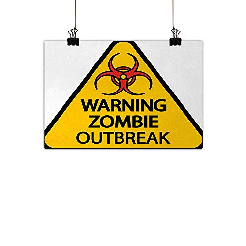 Anzhutwelve Zombie Simulation Oil Painting Warning The Zombie Outbreak Sign Cemetery Infection Halloween Graphic Decorative Painted Sofa Background Wall Earth Yellow Red Black 24