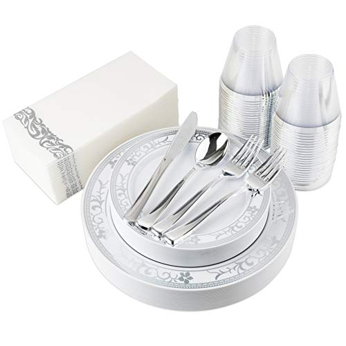 200-Piece Plastic Plates, Plastic Cutlery, Rimmed Plastic Cups and Guest Towels - Service for 25 Guests Elegant Disposable Dinnerware Set for Wedding, Party, Thanksgiving, Holiday (Silver Floral)