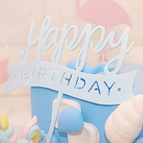 NOMSOCR Happy Birthday Cake Bunting Topper with Pink Bows and Straws Gold Glitter Cake Topper, Birthday Party Decorations, Set of 10 (Blue)