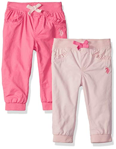 U.S. Polo Assn. Baby Girls 2 Jogger, Jersey Lined Pack with Camellia Rose Pearl Blush, 12M -