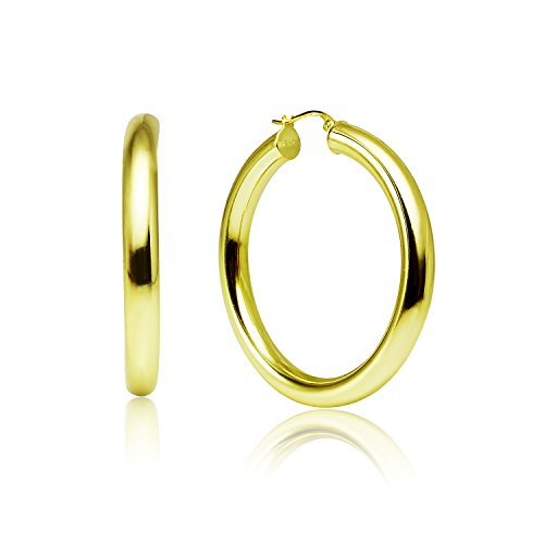 LOVVE Yellow Gold Flashed Sterling Silver High Polished Round-Tube Click-Top Hoop Earrings, 5x40mm by Lovve