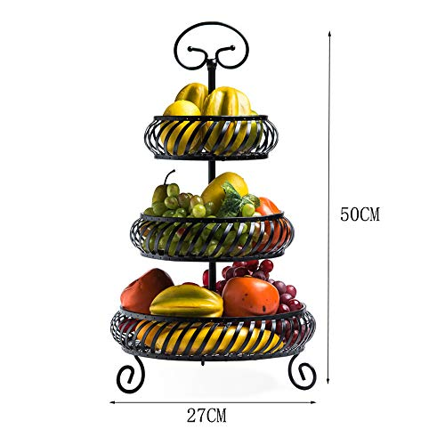 LYJxuan Creative Multi-Layer Wrought-Iron Fruit Stand, Modern Minimalist Design, Metal Material, Hollow Sculpture Design, Multi-Layer Storage, (Black, Gold) (Color : Gold) (Creative Stand)