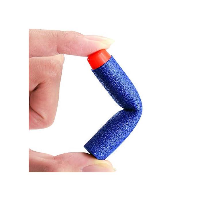 41UQ2saV mL Seguro: con una textura plástica de esponja de EVA extra suave, puede doblarse o distorsionarse de manera flexible. El cabezal de plástico de cada bala está fuertemente conectado, no se preocupe que se desarmará fácilmente. Compatibilidad: la dimensión aproximada de cada dardo: 7.2x1.2cm / 2.83x 0.47 pulgadas. Se adapta a la mayoría de las pistolas de bala blandas N-graves. Fácil de transportar y almacenar Precaución: Para evitar lesiones oculares, no dispare a las personas directamente, especialmente en la cara. Sería más seguro para ti jugar bajo cualquier dispositivo de protección ocular.