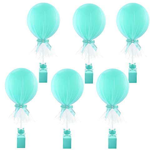 Tutu-Tulle-Balloons-Tiffany-Blue-Balloons-Party-DIY-Balloon-Table Balloons for Baby Shower Weddings Birthday Princess Party Table Centerpiece Decorations 6 pack -