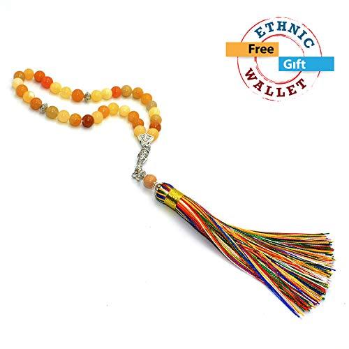 Yellow Jade Stone Prayer Beads with Fancy Silk Tassel (8 mm -Round) (33 Beads) Tesbih-Tasbih-Tasbeeh-Misbaha-Masbaha-Subha-Sebha-Sibha-Rosary-Worry Beads - Free Gift -