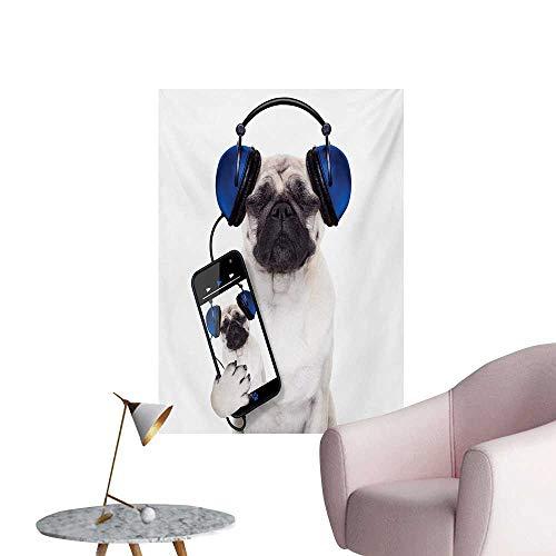 Anzhutwelve Pug Wallpaper Dog Listening Music on The Smartphone Groovy Cool Headphones Animal Funny ImageNavy Blue Black W32 xL48 Custom Poster]()