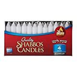 Ner Mitzvah Classic White Taper Candles - 72 Bulk Pack - for Shabbat, Dinner Tables, Restaurants, Ceremonies and Emergency - 4 Hour Burn Time