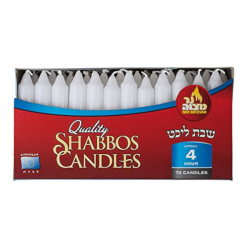Classic Dinner Candles - Ner Mitzvah Classic White Taper Candles – 5 Inch Candles - 72 Bulk Pack - for Shabbat Candles, Dinner Tables, Restaurants, Ceremonies and Emergency - 4 Hour Burn Time
