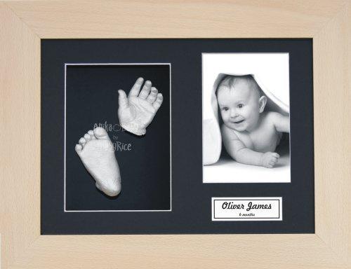 BabyRice Baby Casting Kit / 11.5x8.5'' Real Beech Wood Frame / Black 3 Hole Mount / Black Backing / Silver Paint
