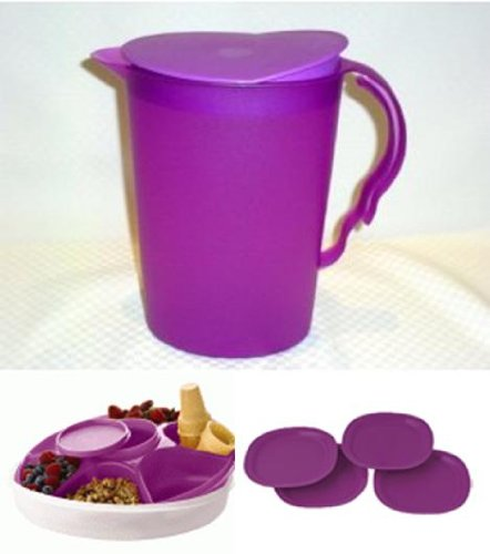 Tupperware Impressions Serving Set with Serving Center, 2 Quart Pitcher and Microwave Luncheon Plates