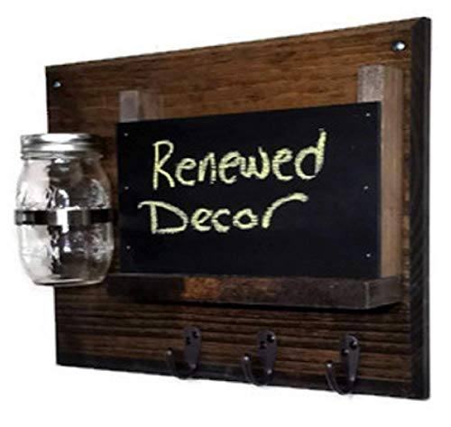 Renewed Décor Hamilton Mail Organizer with a Decorative Mason Jar Vase Featuring 3 Key Hooks and Chalkboard, Available in 20 Stains : Shown in Jacobean (Chalk It Up Mason Jars)