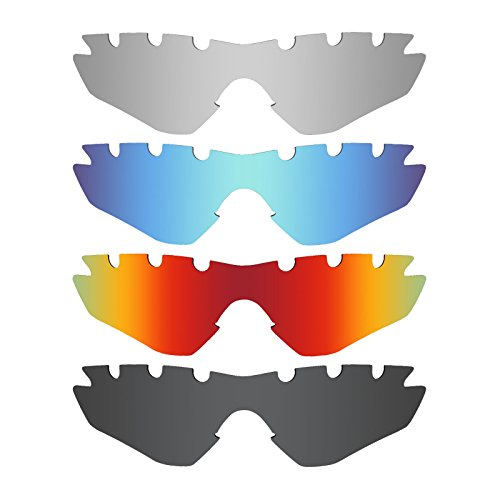 Mryok 4 Pair Polarized Replacement Lenses for Oakley M2 Frame Vented Sunglass - Stealth Black/Fire Red/Ice Blue/Silver Titanium by Mryok
