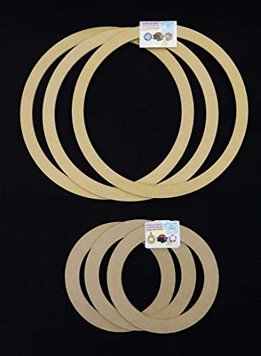 Value Pack. 6 Pack Combo - 3X 9 inches + 3X 14 inches, Biodegradable Floral Craft Ring, Ez Wrap Poly Mesh Center Piece Wreath Form, for Photo Frame, Candle Ring, Mobile, Dream Catcher Etc