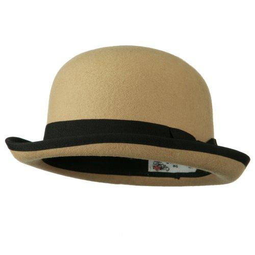 Bowler Wool Felt Hat with Solid Band - Tan - Felt Band Wool Hat