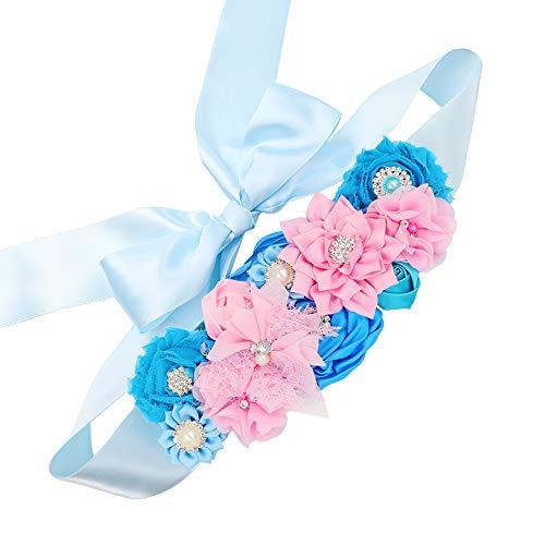 Gender Reveal Maternity Sash - Baby Reveal Pregnancy Sash Keepsake Baby Shower Flower Belly Belt (Pink & Blue) - Embellished Baby Shower Invitations