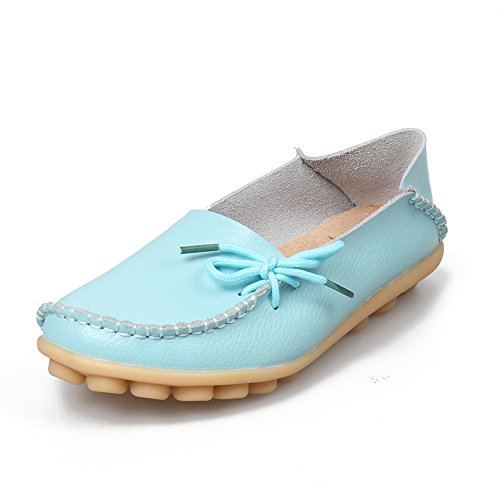 SUNROLAN Womens Leather Cowhide Casual Lace-up Slipper Slip-on Loafers Flat Driving Shoes Sky Blue