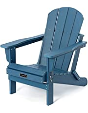 Folding Adirondack Chair Patio Chairs Lawn Chair Outdoor Chairs Painted Adirondack Chair Weather Resistant for Patio Deck Garden, Backyard Deck, Fire Pit & Lawn Furniture Porch and Lawn Seating- Blue