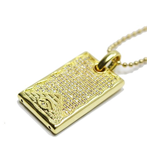 Mens Gold 14k Gold Iced Out Lab Diamond Dog Tag Pendant Necklace Chain