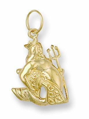Or Jaune Pendentif Zodiaque Verseau