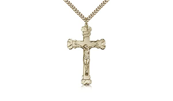 Crucifix Medals Gold Plated Crucifix Pendant Including 24 Inch Necklace