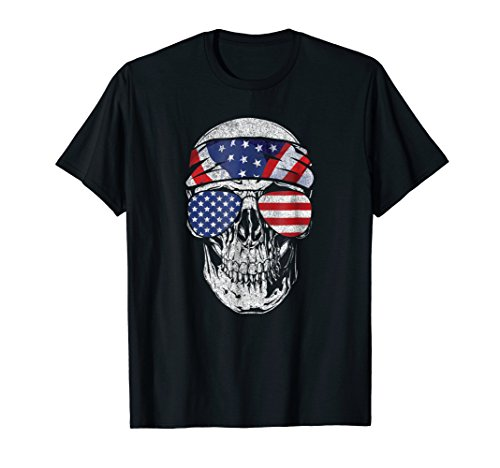 July 4th American Flag Skull T Shirt Patriotic Gift Tee
