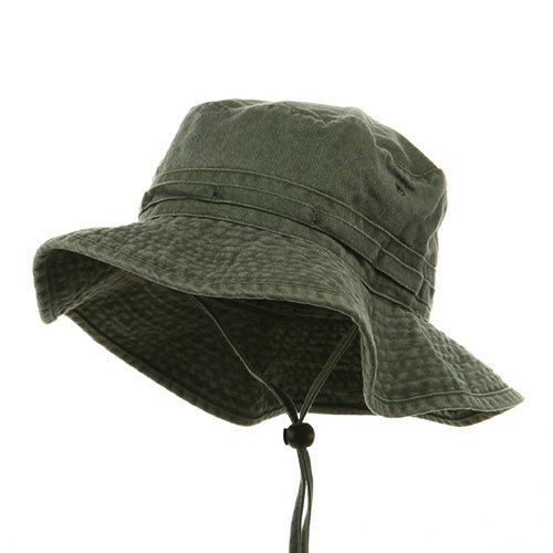 Fishing Hiking Outdoor Hat (02)-Olive W10S30F - Large (Cap Twill Solid Dyed Pigment)