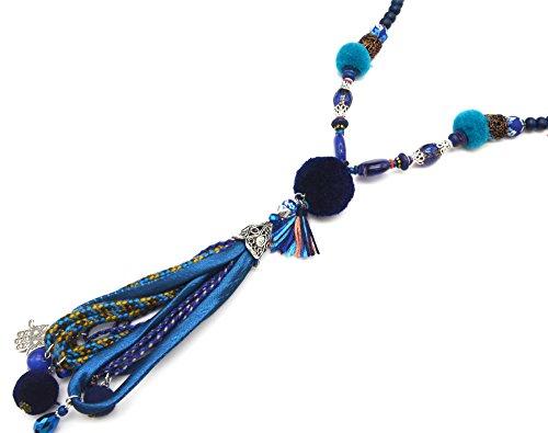 CL1310F - Sautoir Collier Perles Bleu Marine et Pendentif Pompon Boule Fils avec Cordons Tressés et Main de Fatma