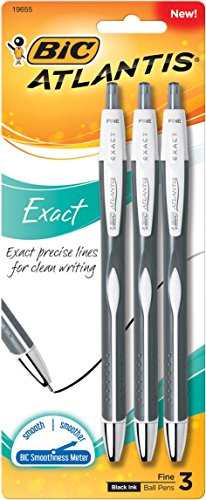 BIC Atlantis Exact Retractable Ball Pen, Fine Point (0.7 mm), Black, 3-Count