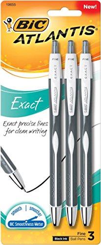 BIC Atlantis Exact Retractable Ball Pen, Fine Point (0.7 mm), Black, 3-Count (Fine Point Pens)
