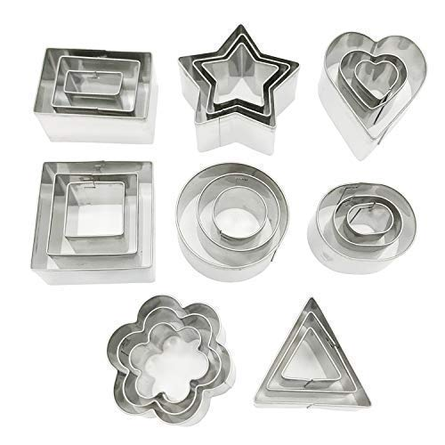 (Docik TSR04 24 Piece Stainless Steel Cookie, Metal Cake Fruit Pastry Biscuit Cutters Baking Molds Set, Pack of 24)