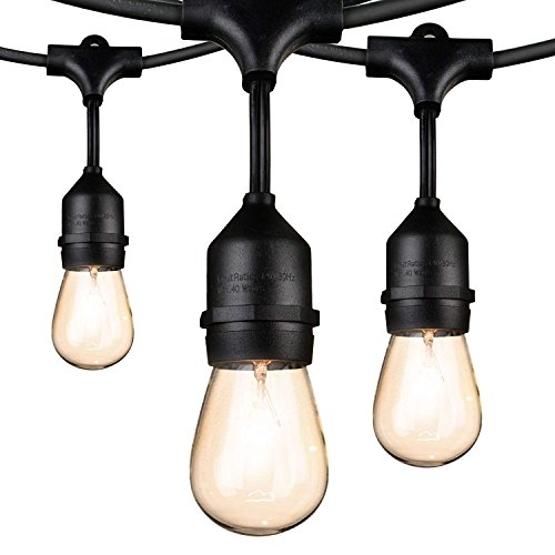 48Ft Weatherproof Outdoor Patio String Lights with E26 Base Sockets & S14 Bulbs, Hanging Market Cafe Edison Vintage Strand for Deckyard Backyard Bistro Pergola Wedding Gathering Party, Black