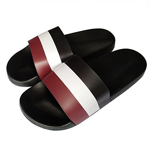 Bastolive Womens Or Mens Antimicrobial Shower Water Shoes/Sandals/Flip Flops/Slippers for Pool,Beach,Dorm & Gym,Outdoor,Indoor,Bedroom,Home/House (EU40-41:Men 5.5-6 & Women 9-10, Black White Red) ()