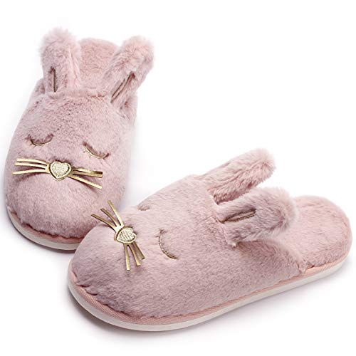 Bunnies Fluffy Pink (Cute Bunny Fuzzy Slippers |Warm Animal Memory Foam Plush |Women Indoor Outdoor Bedroom Slippers (9.5-10.5, Pink Bunny))