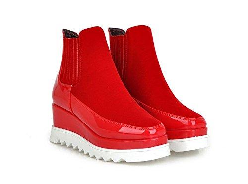 Otoño Cabeza Negro Cuadrado Pisos Fregar Tobillo Fondo Martín 35 uk eur39uk665 Mujeres 3 Grueso Zapatos Invierno Red Eur Nvxie Porciones Botas xqfF4X6nw