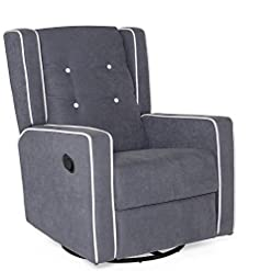 Living Room Best Choice Products Microfiber Tufted Mid-Century Polyester Upholstered Glider Recliner Lounge Rocking Chair w/ 360…