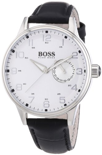 Hugo Boss Silver Dial Black Leather Ladies Watch 1502312