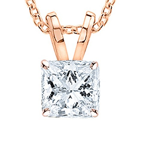 - 1.01 Carat 14K Rose Gold GIA Certified Princess Diamond Solitaire Pendant Necklace J Color VVS2 Clarity w/ 18