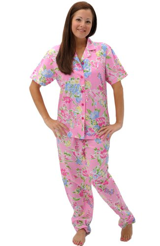 Alexander Del Rossa Womens Woven Cotton Pajama Set with Pants, Button Down Pjs, Medium Pink and Blue Flowers Floral (A0518P07MD)