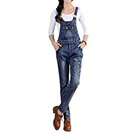 Gihuo Women's Vintage Ripped Slim Fit Denim Bib Overall