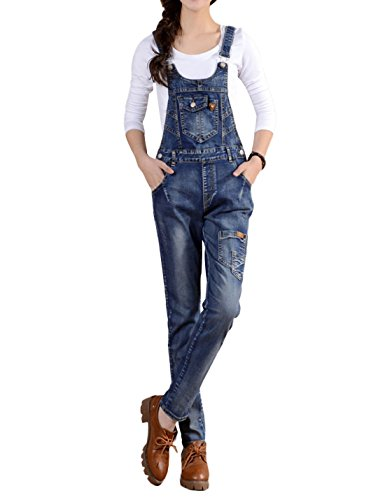Denim Vintage Overalls - Gihuo Women's Juniors Vintage Slim Fit Bib Overall Denim Jumpsuit Sleeveless Romper with Pockets (Small)