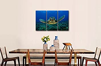 3 Piece Blue Wall Art Painting Turtle Looking Swim in The Sea Prints On Canvas The Picture Animal Pictures Oil for Home Modern Decoration Print Decor