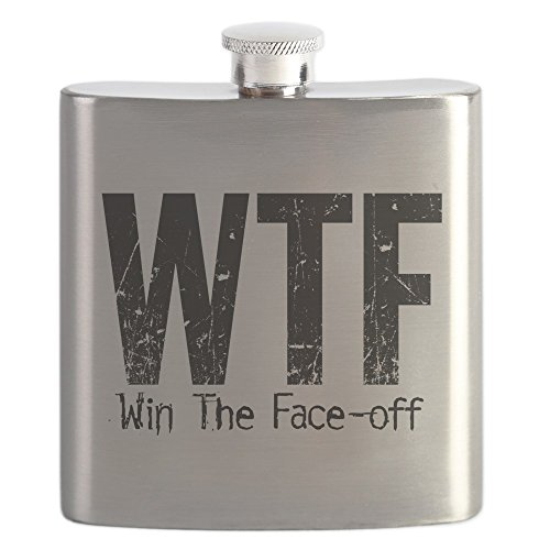 CafePress - WTF (Win The Face-Off) - Stainless Steel Flask, 6oz Drinking Flask