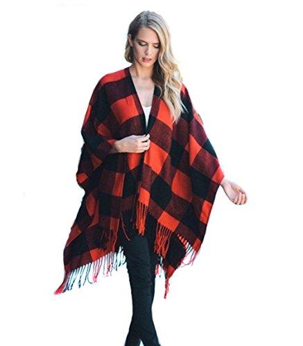 Endless Envy Buffalo Plaid Poncho Wrap Blanket Sweater (Red)