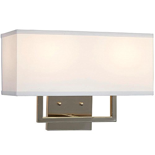 Modern Contemporary Wall Shade Sconce | Rectangular Light with Square Lines | Lighting with LED Bulbs Included | Brushed Nickel