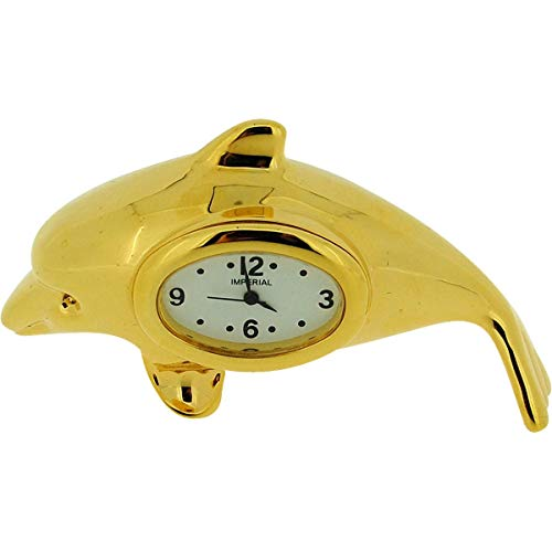 (Miniature Gold Plated Free Standing Dolphin Novelty Collectors Clock IMP1062)