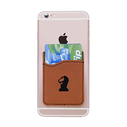 Modern Goods Shop Brown Self-Adhesive Wallet with Laser Etched Chess Knight Design - Credit Card Pocket for 3 Cards - Fits Most Smartphones ()
