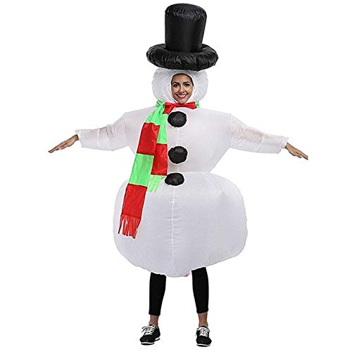DishyKooker Snowman Mascot Adult Cosplay Costumes Inflatable Santa Claus Clothes Ride on Toys Halloween Christmas Carnival Easter Party Prop -