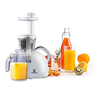 WOWOW Masticating Juicer Extractor, Slow Juicer, Cold Press Juicer with Juicer Cup, Pulp Cup and Cleaning Brush, Juicer Machine for High Nutrient Fruit and Vegetable Juice, White